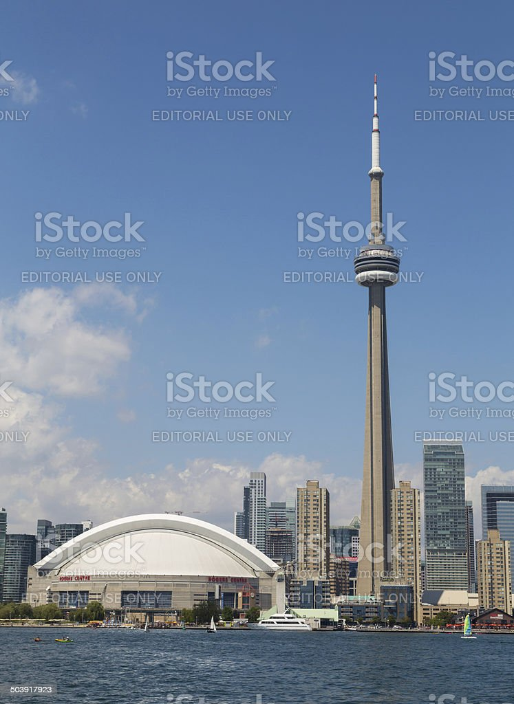 CN Tower and Rogers Centre stock photo