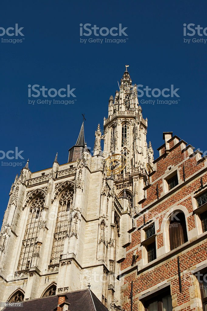 Tower and stepped gable royalty-free stock photo
