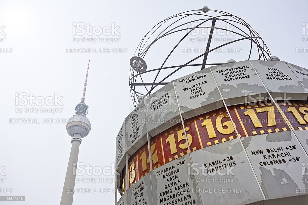 TV tower and worldclock (Fernsehturm, Weltzeituhr Berlin) stock photo
