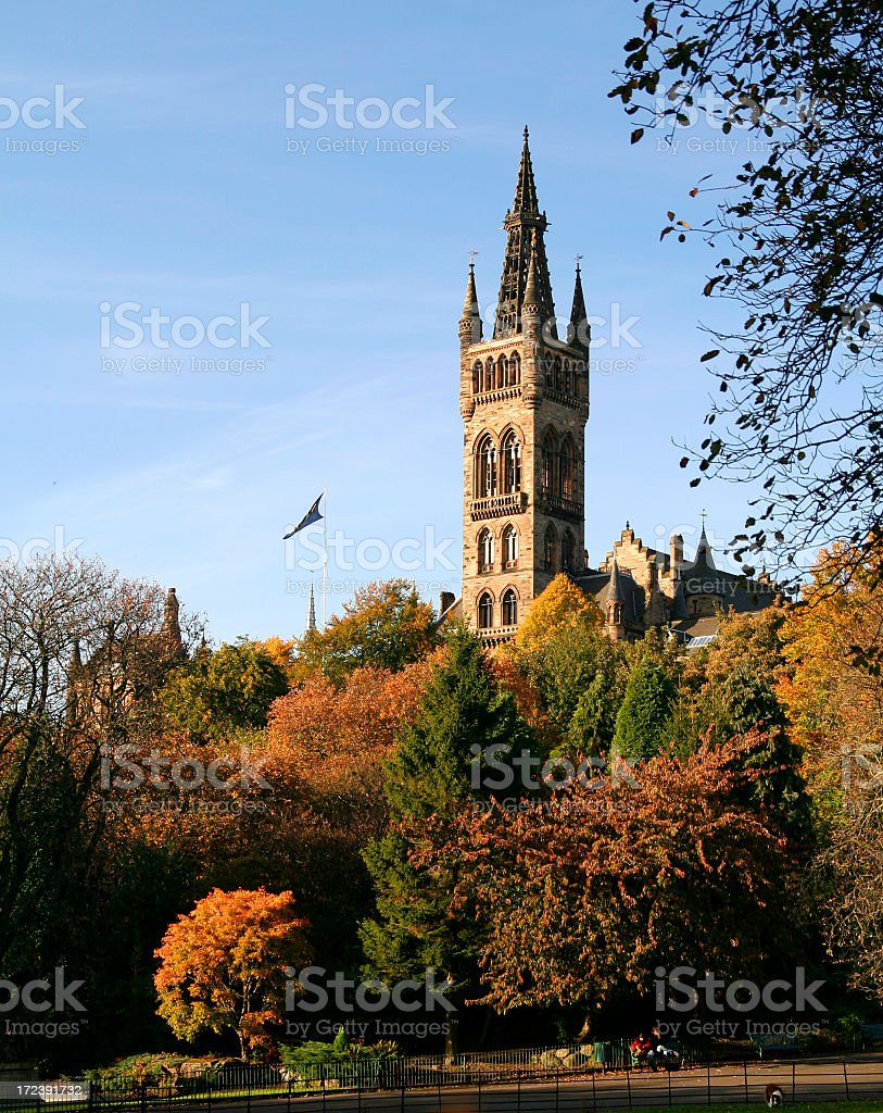 Tower at Glasgow University in autumn royalty-free stock photo