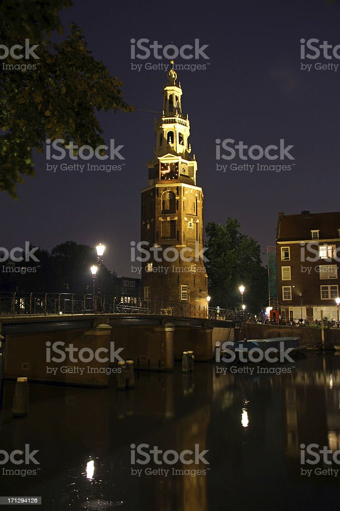 Tower at Night stock photo