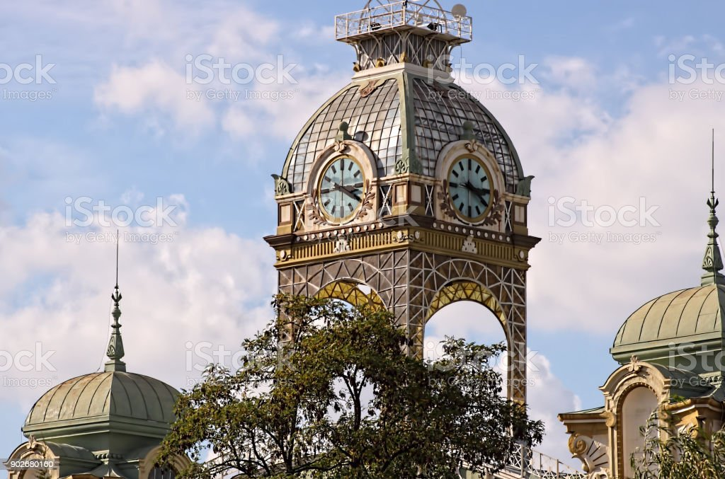 Tower at Prague Exhibition grounds, Europe stock photo