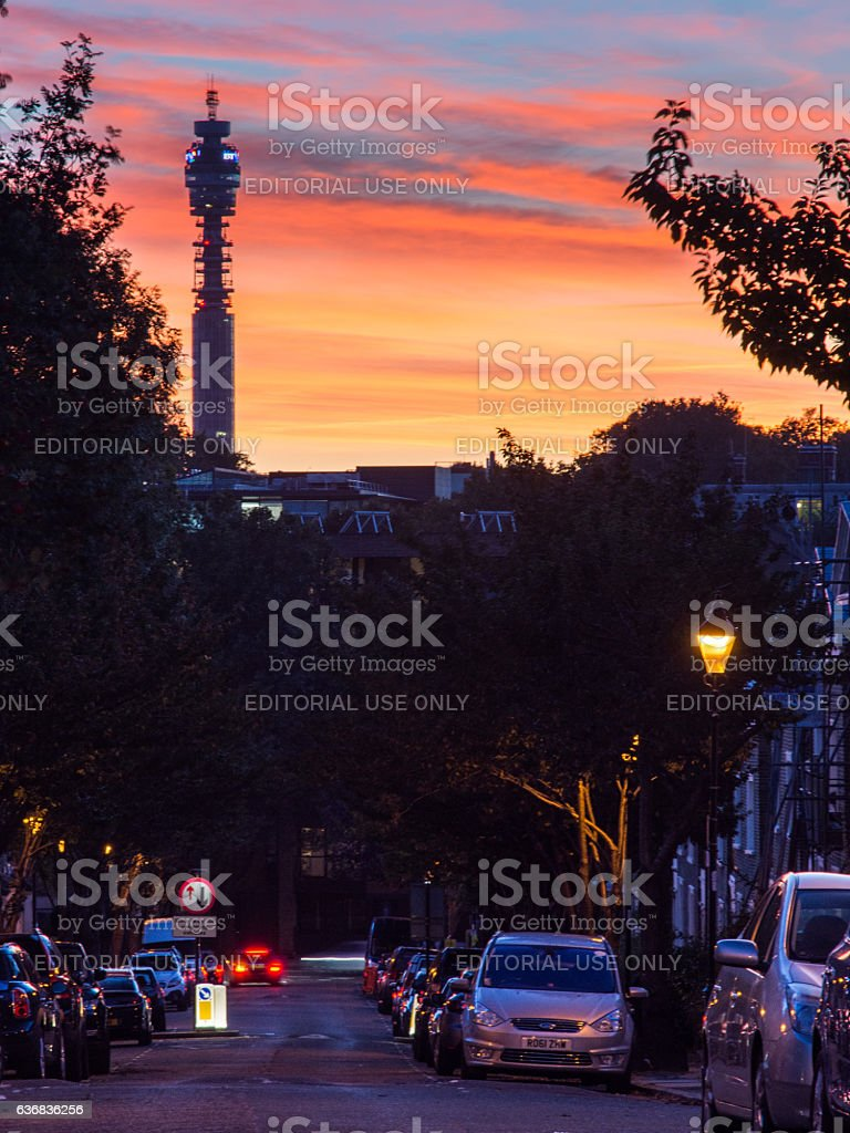 BT Tower at sunset stock photo