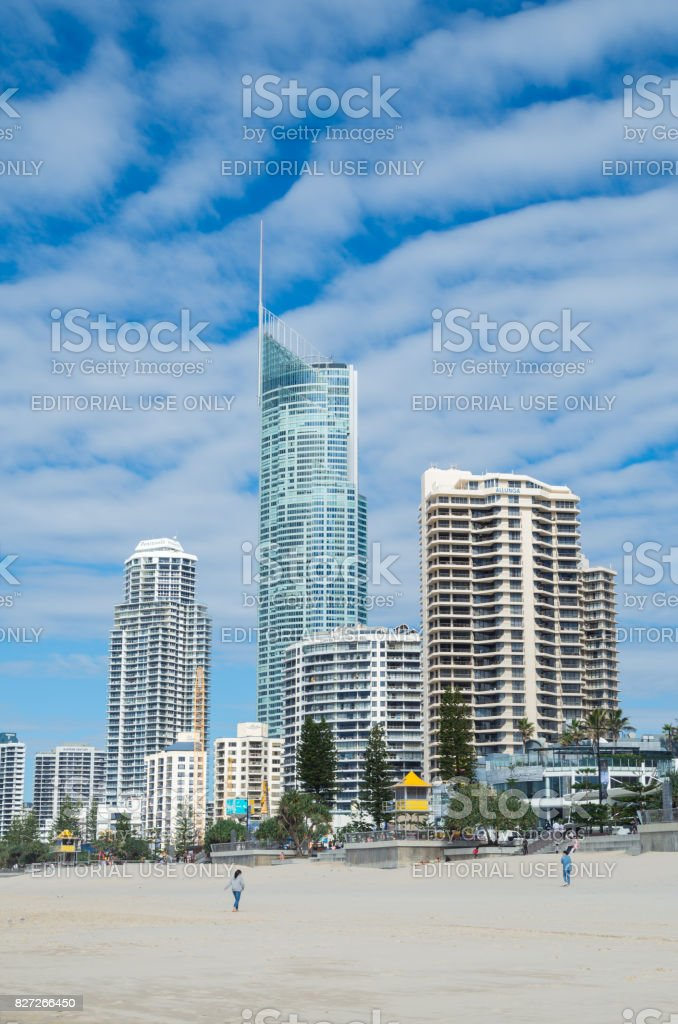 Q1 tower at Surfers Paradise on the Gold Coast. stock photo
