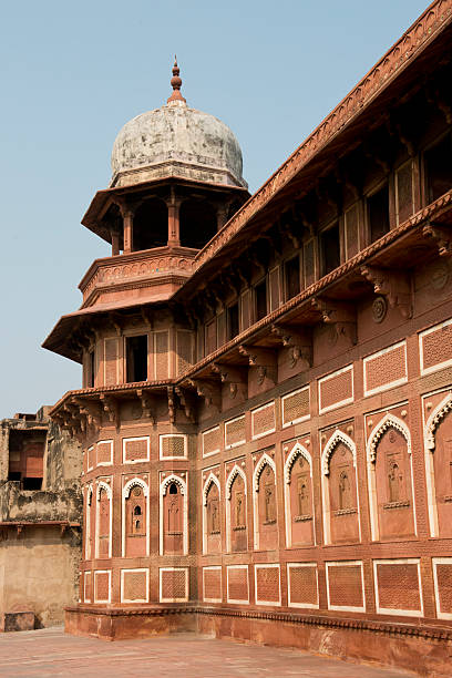 Tower at the Agra Fort The red Agra Fort, home of the  Moghul Emperors, Now an Unesco world heritage site. artistical stock pictures, royalty-free photos & images