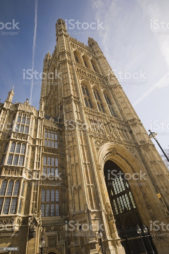 Tower at the houses of parliament (Westminister Palace) royalty-free stock photo