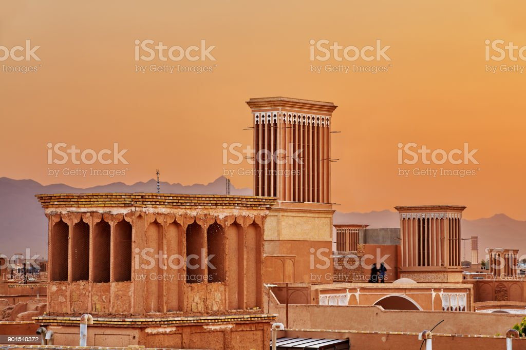 Tower Badgir used for natural ventilation of buildings, Yazd, Iran. stock photo
