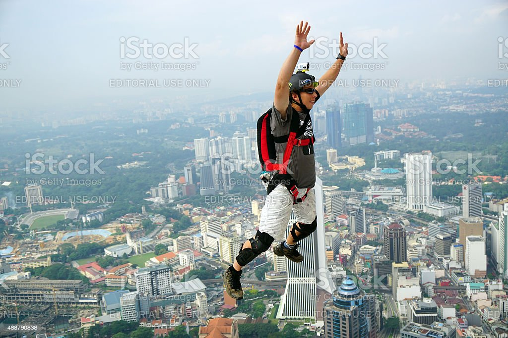 KL Tower BASE Jump stock photo