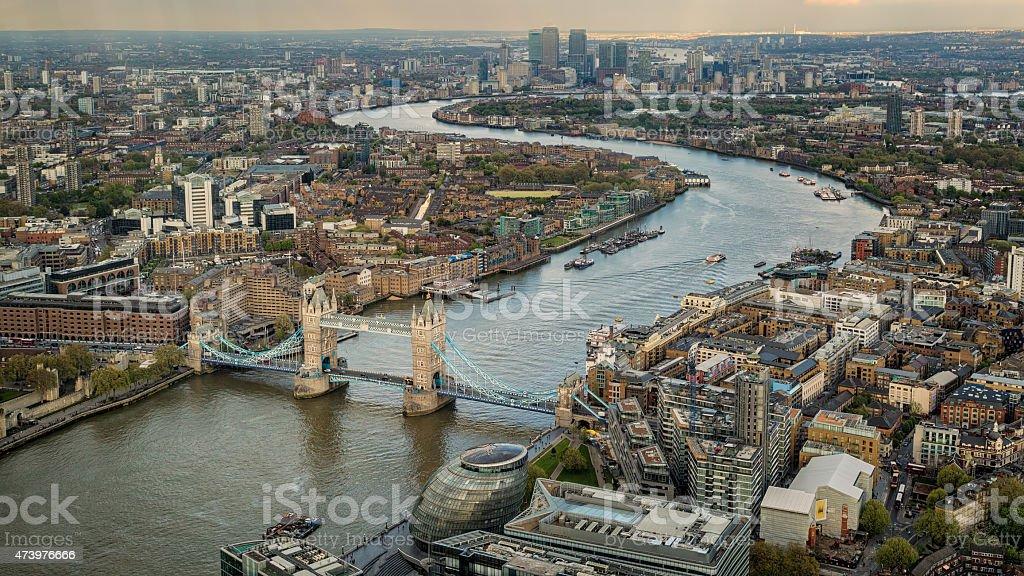 Tower Biridge with river Thames and London skyline stock photo