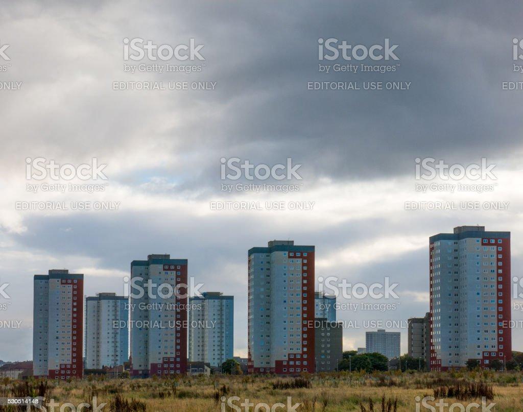 Tower Block Buildings Seaton Area Sky Rise Aberdeen stock photo