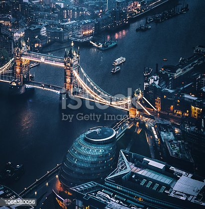 tower bridge aerial view at night