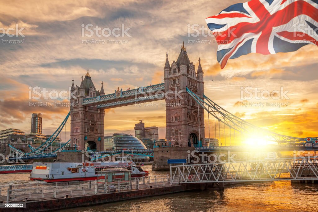 Tower Bridge against colorful sunset in London, England, UK stock photo