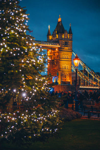 Tower Bridge and Christmas time in London, UK stock photo