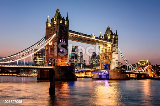 View of the Tower Bridge and City of London at dusk
