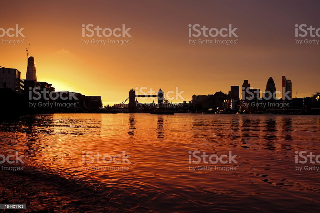 Tower Bridge and City of London at Sunset royalty-free stock photo