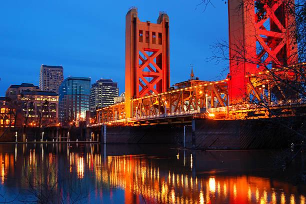 Tower Bridge and Downtown Sacramento stock photo