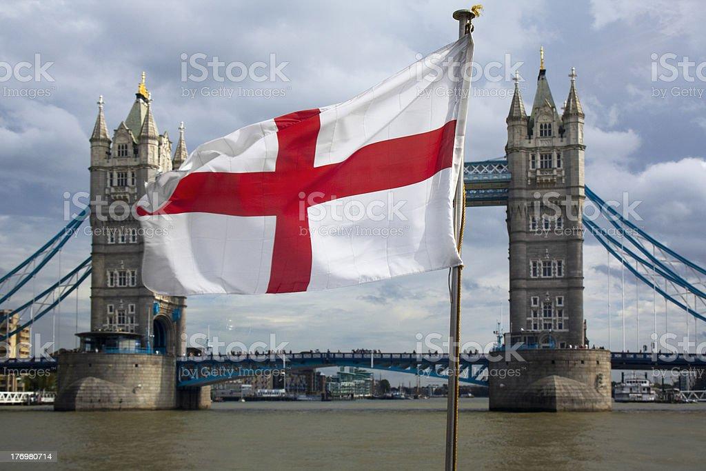 Tower bridge and flag stock photo