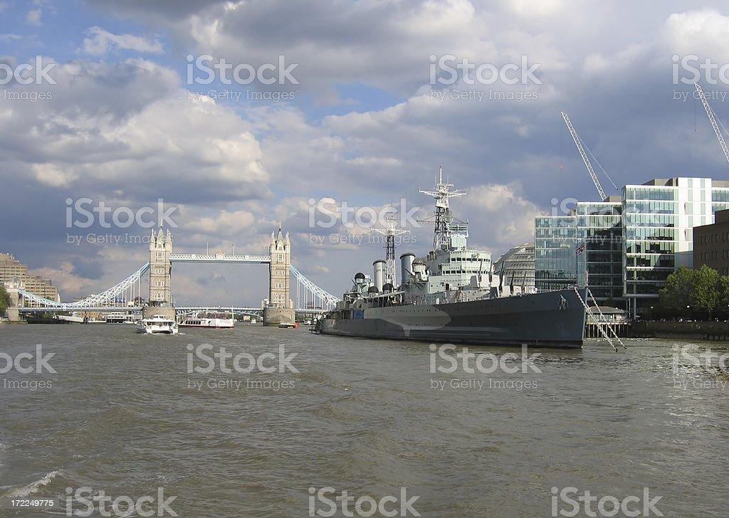 Tower Bridge and HMS Belfast, London, England royalty-free stock photo