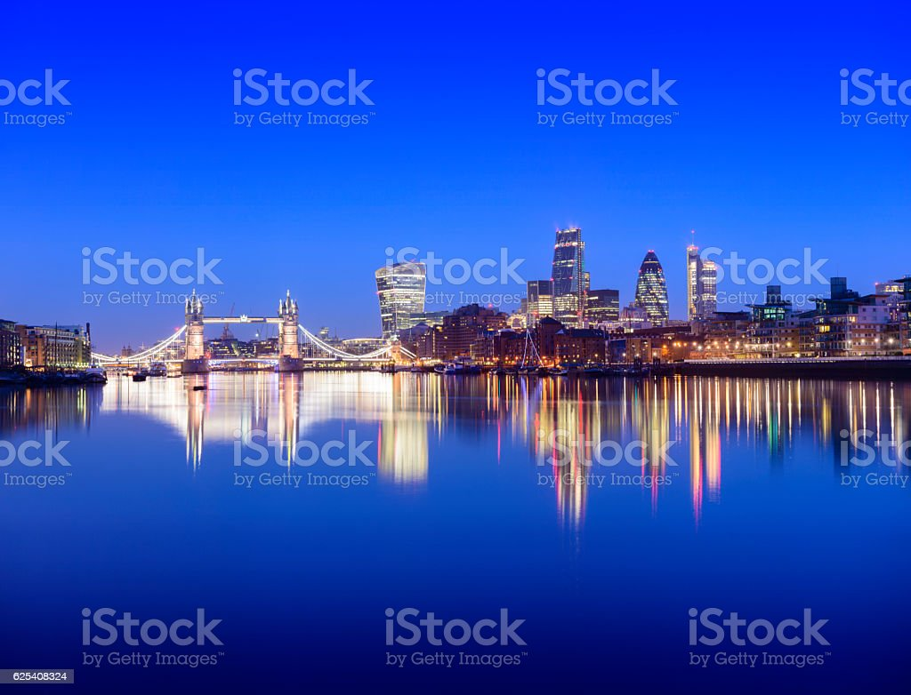 Tower Bridge and London City Skyline Reflection at Twilight stock photo