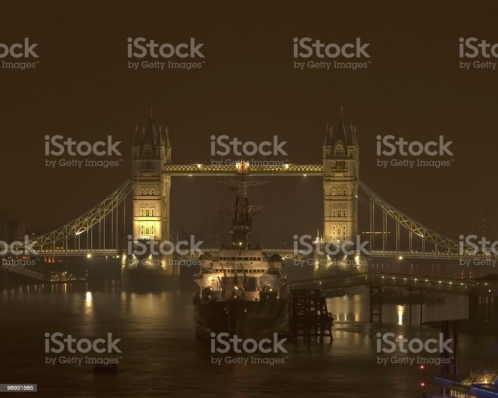 Tower bridge and ship royalty-free stock photo