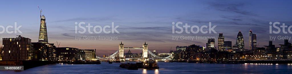 Tower Bridge and the City of London skyline sunset panorama royalty-free stock photo