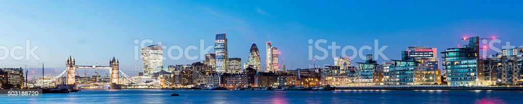 Tower Bridge and the London City Skyline Panorama stock photo