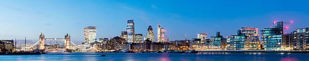 Tower Bridge and the London City Skyline Panorama stock photo