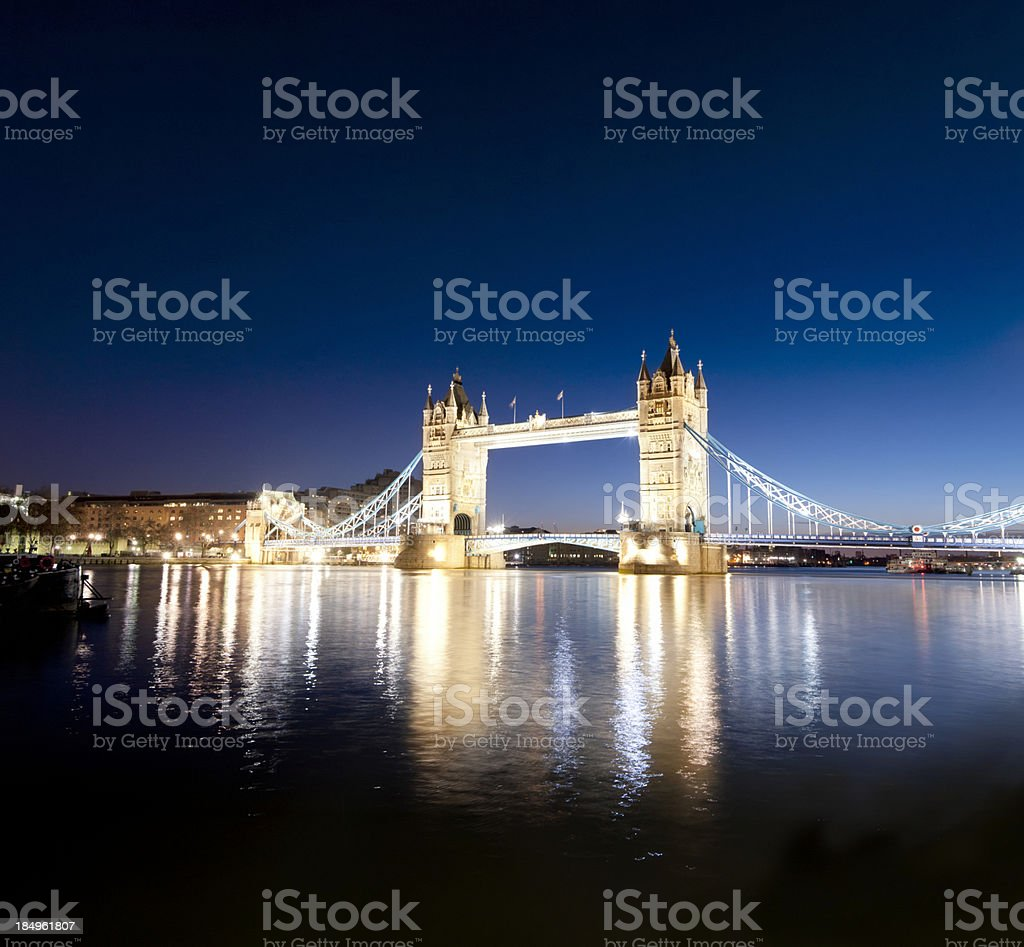 Tower Bridge and the River Thames at Night in London royalty-free stock photo