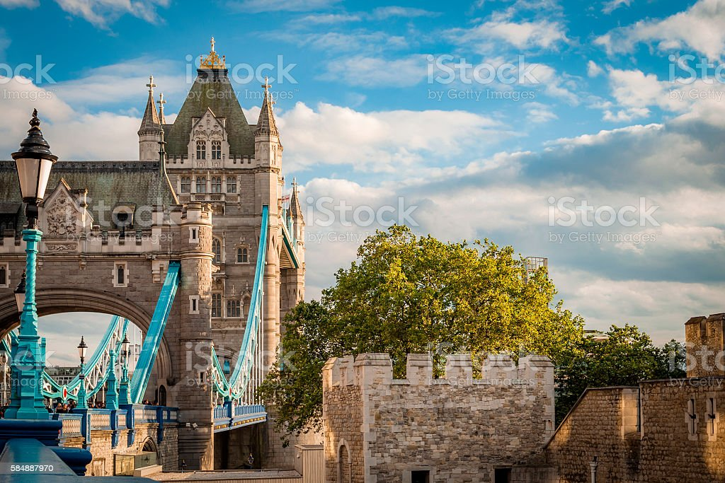 Tower bridge and Tower of London's Wall stock photo
