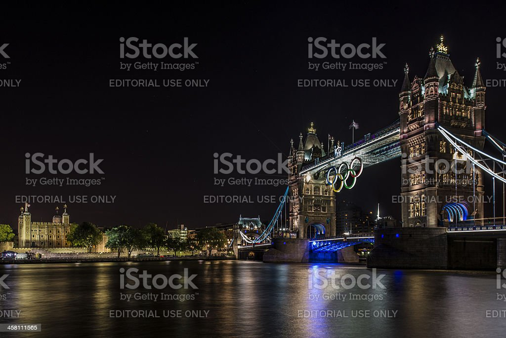 Tower Bridge and Traitors Gate - 2012 Olympic Games stock photo