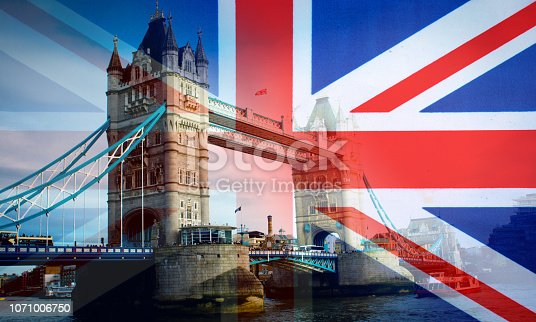 Tower bridge blended with a UK Union flag.