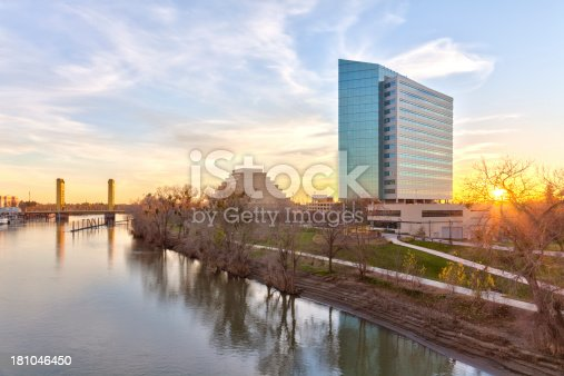 The Tower Bridge, the Sacramento River, and buildings in West Sacramento at sunset (HDR).