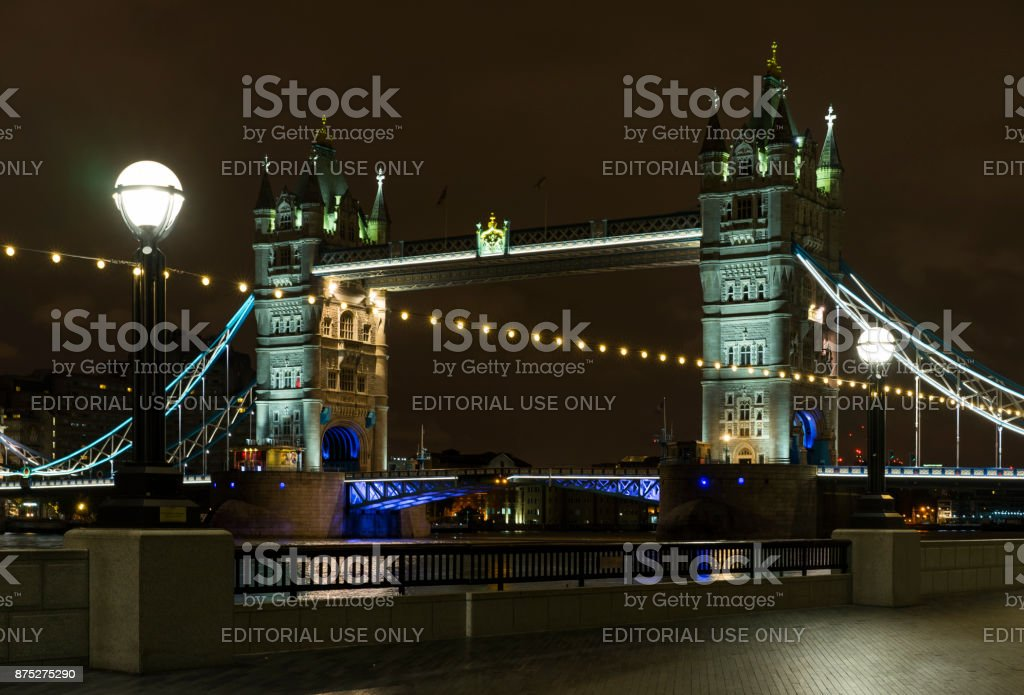 Tower Bridge at night in London Great Britain stock photo