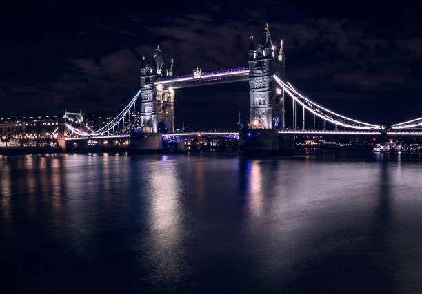 Tower Bridge at Night, London stock photo