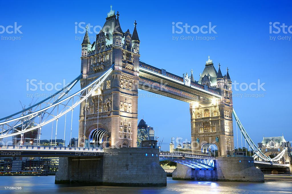 Tower Bridge at Night, London, UK royalty-free stock photo