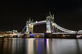 View of Tower bridge from the Southbank at night in London