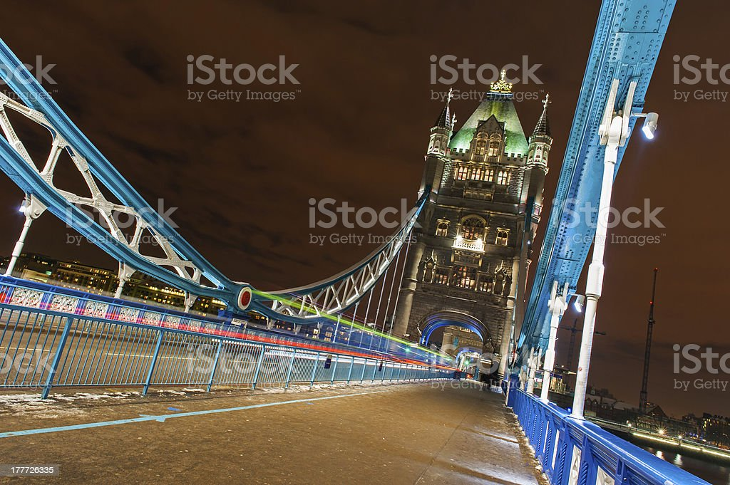 Tower Bridge at night with bus trails royalty-free stock photo