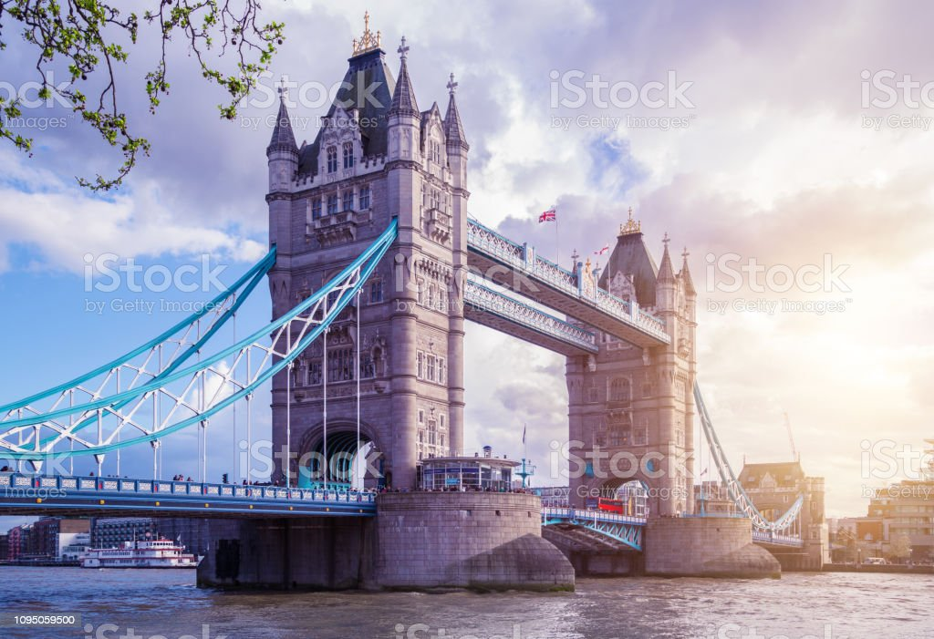 Tower Bridge at Spring, London stock photo