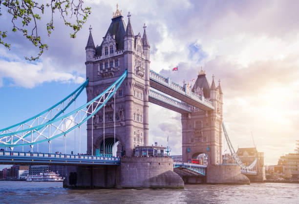 Tower Bridge at Spring, London stock photo