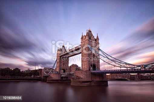 Tower bridge at sunset in summer, long exposure.