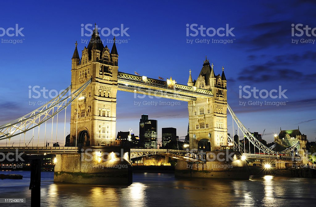 Tower Bridge at twilight royalty-free stock photo