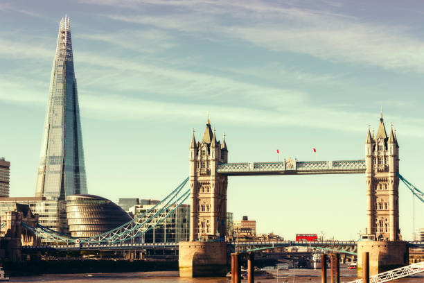 Tower Bridge, City Hall and the Shard in London View of Tower Bridge, City Hall and the Shard in London bascule bridge stock pictures, royalty-free photos & images