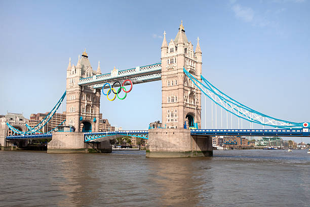 """Tower bridge decorated with Olympic rings  London 2012 UK """"London, United Kingdom - June 28, 2012: Tower bridge decorated with Olympic rings  London 2012"""" 2012 stock pictures, royalty-free photos & images"""