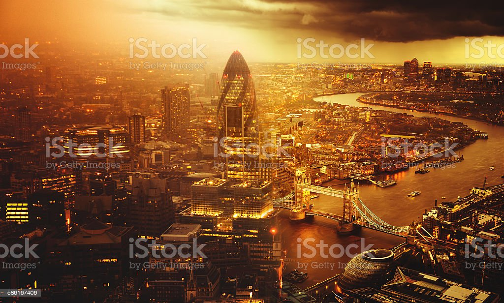 tower bridge helicopter aerial view in london stock photo