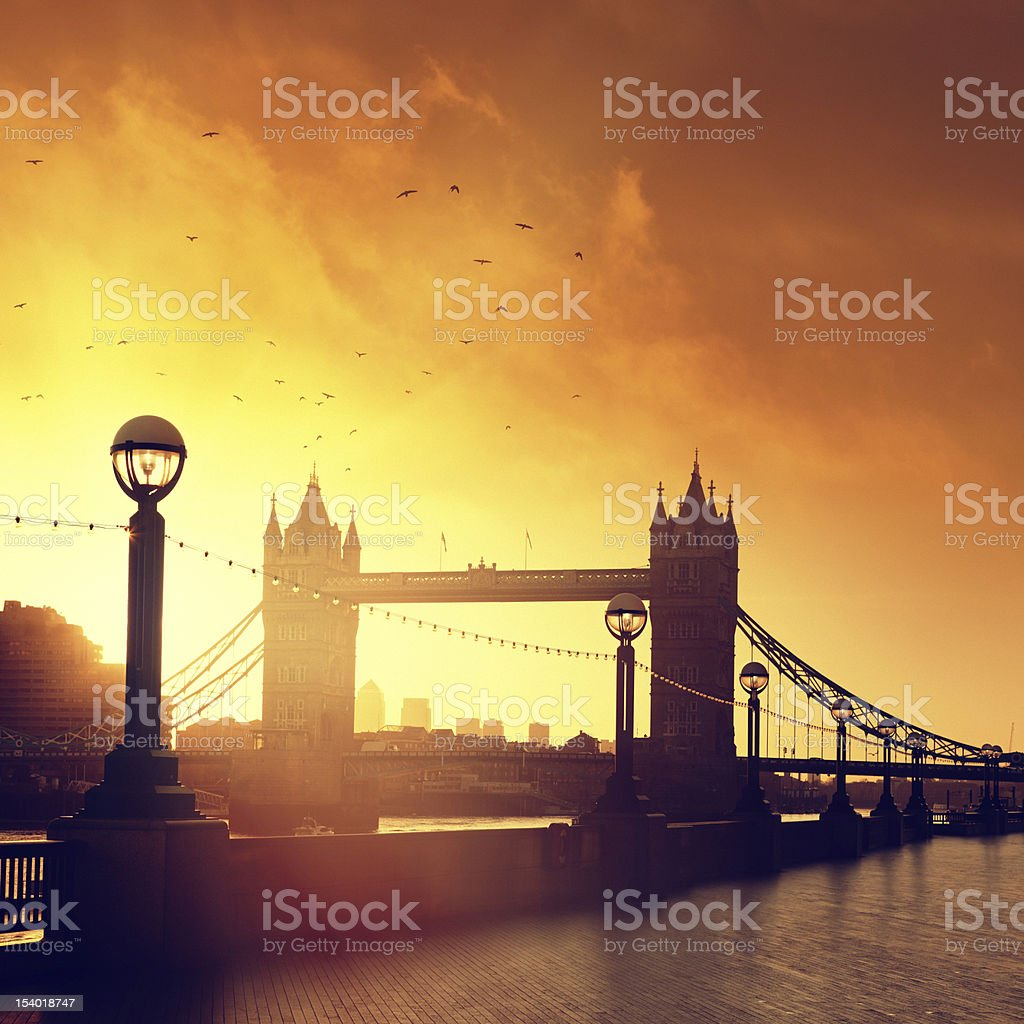 Tower Bridge in London at dawn royalty-free stock photo