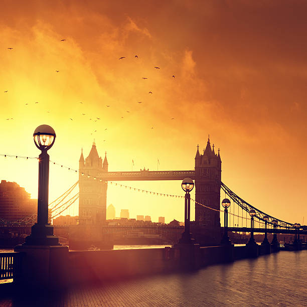 Tower Bridge in London at dawn stock photo