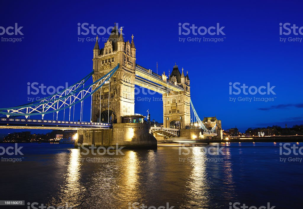 Tower Bridge in London at night royalty-free stock photo