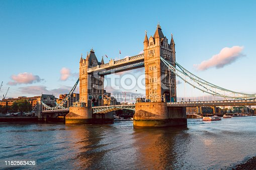 Tower Bridge in London illuminated by the setting sun