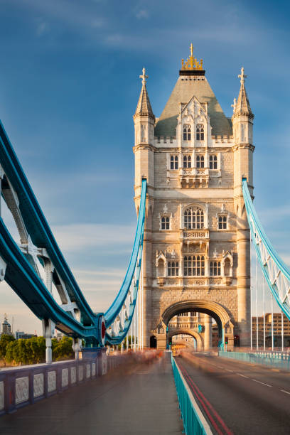Tower Bridge in London with blue sky stock photo