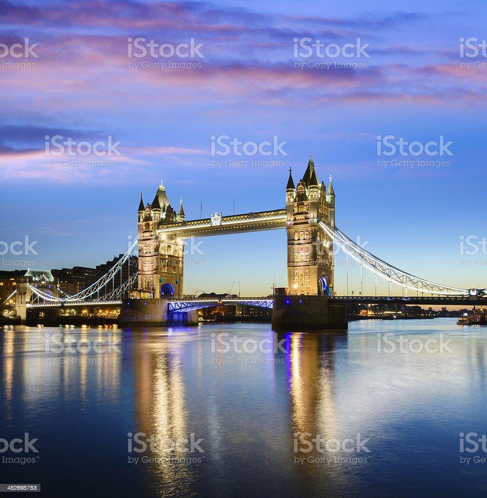 Tower Bridge located in London stock photo